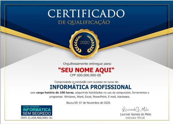 Certificado Curso de Informática Online